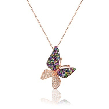 Söğütlü Silver Kelebek Kolye Renkli